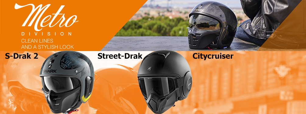 Shark Metro Division pilot hjelme med en klar linje og et stilfuldt look