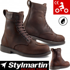 Stylmartin motorcykelstøvler DISTRICT læder kort vandtæt åndbar CE med beskyttere