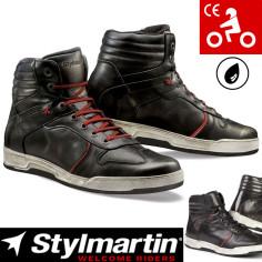 Stylmartin Motorcykelsko IRON læder sneaker vandtæt med CE- og ankelbeskyttere